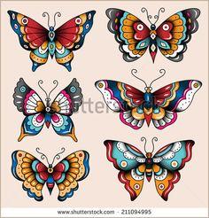 67 Ideas tattoo old school arm american traditional flash art Trendy Tattoos, Love Tattoos, Body Art Tattoos, New Tattoos, Retro Tattoos, Tatoos, Temporary Tattoos, Skull Tattoos, Traditional Butterfly Tattoo