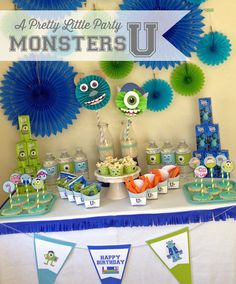 Monsters U inspired Party Pack Digital by aprettylittleparty Fiesta Monster University, Monster University Birthday, Monster Birthday Parties, Party Decoration, Birthday Decorations, Birthday Ideas, Monster Party, Kids Party Themes, Party Ideas