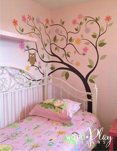 Girl's bedroom with vinyl tree, two-toned pink flowers and green leaves / owl theme bedroom vinyl Bedroom Themes, Girls Bedroom, Custom Vinyl, Furniture Arrangement, Green Leaves, Wall Design, Pink Flowers, Vinyl Decals, Owl