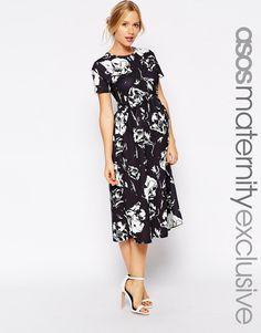 ASOS Maternity Midi Textured Skater Dress In Mono Floral