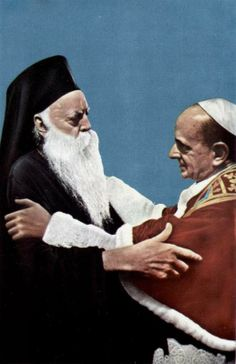 """1964: In accordance with the well-known phrase of Ecumenical Patriarch Athenagoras, he and Pope Paul VI """"look each another in the eyes."""""""