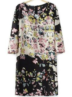 Female-chic 3/4 Sleeve Floral Dress