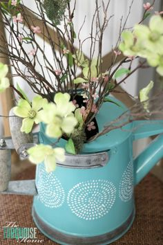 Pretty Watering Can & Spring Mantel | TheTurquoiseHome.com