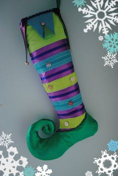 Handmade Christmas Stocking /Stripes / Curly Toe by FestiveJester, €30.00