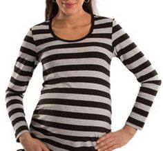 Black and white striped ruched top