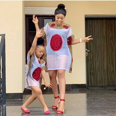 Mother and daughter in same outfit. Loving their looks already. African Dresses For Kids, African Fashion Ankara, Latest African Fashion Dresses, African Dresses For Women, African Print Dresses, African Print Fashion, African Attire, African Lace Styles, Trendy Ankara Styles