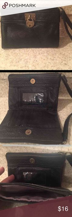 Steve Madden Black Wristlet Soft leather Steve Madden wristlet. Lots of compartments to hold lists of stuff, middle section for cards and ID. Excellent condition. Steve Madden Bags Clutches & Wristlets