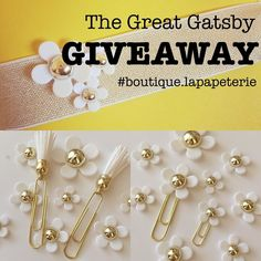The Great Gatsby themed Giveaway is here!  1 lucky winner will receive our Eau so Daisy Planner Band Eau so Daisy Paperclips in White Tassled Up Paperclips in White and a 30% coupon code for our Etsy Store. The Planner Band fits both A5 and A6 planners and can be used as a head band as well!  5 other winners will receive a 30% coupon code for our Etsy Store!  How to enter: 1) Follow us on Instagram. 2) Like this picture.  For additional chances to win: 1) Follow us on Etsy and in your…