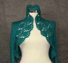 Tales From Anatolian Woods / Hand Knit Teal Shrug. Crochet Bolero (S-M-L)-3/4 Sleeve Cardigan Jacket - Spring Summer. $155.00, via Etsy.