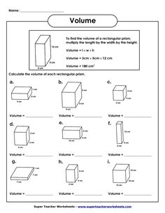 Volume and Surface Area of Rectangular Prisms Two worksheets 1 ...