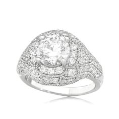 Diamonesque 2.82ct tw Pave Set Round Solitare Ring Sterling Silver Solitare Ring, Jewellery Box, Sterling Silver Rings, Decorative Bowls, Gems, Product Description, Engagement Rings, Jewels, Enagement Rings