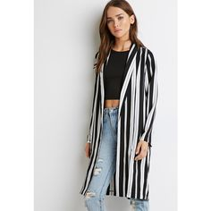 Forever 21 Multi-Stripe Open-Front Jacket (£21) ❤ liked on Polyvore