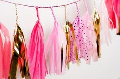 Mini Speckled Pink Tassel Garland Pink Polkadots by StudioMucci, $20.00 ........ (this would be fun to DIY with tissue paper) ......