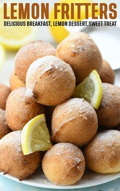 Lemon Fritters are quick and easy recipe for delicious, light and fluffy bites. These are crispy and golden on the outside and so soft and tender inside. Lemon Dessert Recipes, Lemon Recipes, Sweets Recipes, Whole Food Recipes, Delicious Desserts, Yummy Food, Bread Recipes, Yummy Recipes, Great Breakfast Ideas