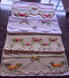 ARTES DA ADINEIA Crochet Lace Edging, Crochet Quilt, Crochet Borders, Crochet Home, Filet Crochet, Crochet Gifts, Crochet Doilies, Crochet Stitches, Knit Crochet