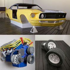 Tektonten Papercraft - Free Papercraft, Paper Models and Paper Toys: Papercraft Art: Life-size 1969 Ford Mustang