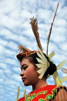 Dayak's Girl Headdress, Central Borneo, Indonesia.
