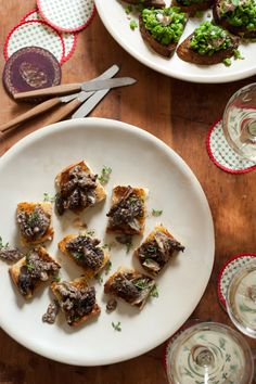 Creamed Mushrooms On Chive Butter Toast Recipe — Dishmaps