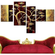 DESIGN ART Hand-painted Modern Bonsai Tree 4-piece Painting Set ($93) ❤ liked on Polyvore featuring home, home decor, wall art, oil panel and oil painting