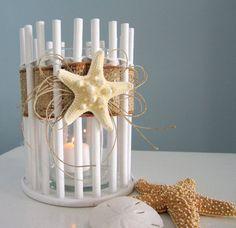 Beach Decor Candle Holder or Vase - Sm. Nautical Decor White Bamboo w Starfish, 2 sizes