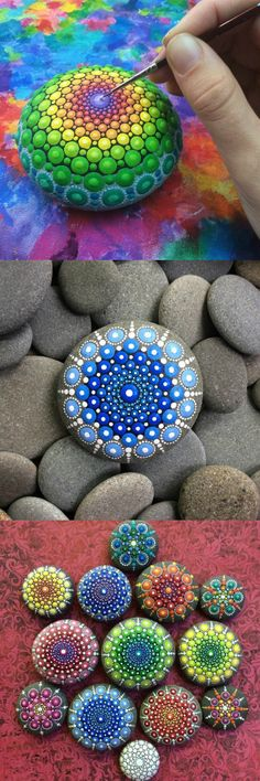 Elspeth McLean (@elspethmclean) paints ocean rocks with thousands of tiny dots. #ART
