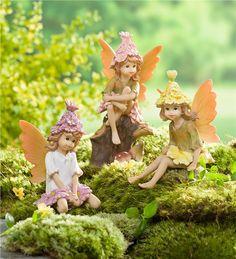 Main image for Miniature Fairy Garden Flower Hat Pixies, Set of 3