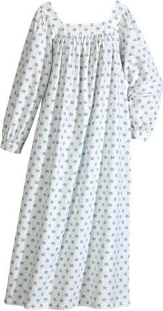 adaf93f463 Long Flannel Nightgown in Blue Snowflakes by Vermont Country Store Flannel  Nightgown