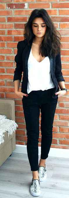 Black And White Streetstyle. Different Shoes for work