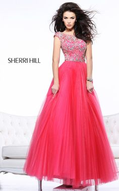 Sherri Hill 2984 Pleated Ball Gown Coral Prom Dress
