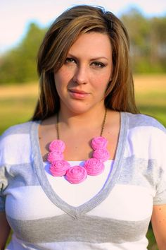 Rosette necklace  BRIGHT PINK by thetootsiewootsie on Etsy, $25.00