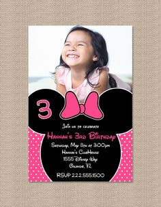 Minnie Mouse Birthday invite @Heather Creswell green-Oliver ( but Mickey of course)
