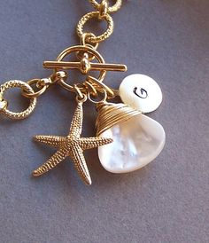 Personalized Bracelet  Initial Charm Starfish by lecollezione, $35.50