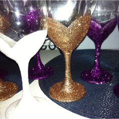 "I made glittery wine glasses!!  I love when I make a ""Pin"".  Dollar store wine glasses, a coat of glossy mod podge, liberally sprinkle glitter, let dry.  Reapply as needed and finish with mod podge as a sealer.  I made sure to apply the mod podge in a sweetheart neckline silhouette as these glasses are for a bachelorette party."
