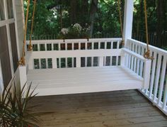 "hmmm....I could do this, right? Sleeping Porch Bed Frames: Made with dried treated pine, primed & painted white, and ready to hang. Hardware includes eye-screws on the frame and 4 large ceiling hooks. Frame size is 42"" deep x 75"" long x 18"" high."