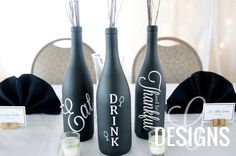 Thanksgiving Themed - Eat, Drink, and Be Thankful Wine Bottle Centerpiece Vinyl Decal Decorations
