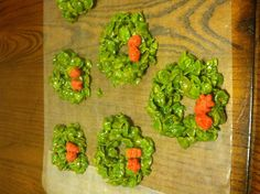 Christmas wreath peanut butter corn flake cookies!!!!  Just a little fun easy holiday treat!!!