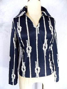 Nautical Rope Blouse Sz M Grunge Sheer Vintage 70s Donnkenny Shirt Top Womens