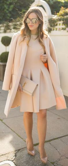 Julia Engel is wearing a nude outfit, the coat is from Michael Kors, dress from Chicwish, shoes from Christian Loboutin, clutch from Saint Laurent, sunglasses from Dolce & Gabbana... | Style Inspiration