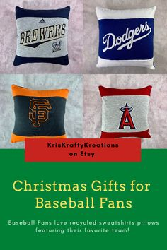 Baseball fans love recycled sweatshirt pillows featuring their favorite team! Baseball sweatshirts are up-cycled into pillows which are perfect for decorating man caves and sports bedrooms. Etsy Christmas, Christmas Gifts, Gifts For Sports Fans, Baseball Stuff, Man Caves, College Students, Fathers Day Gifts, Recycling, Bedrooms