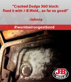 Cracked #Engine Block fixed with J-B Weld: http://www.jbweld.com/product/j-b-weld/ #DIY #mechanic
