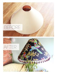 Take an old lampshade & redecorate it as a hanging one ! #upcycle #diy