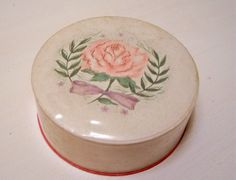 Vintage Avon Face Powder Box Cottage Chic Rose With Vintage Hair Clips. $5.00, via Etsy.