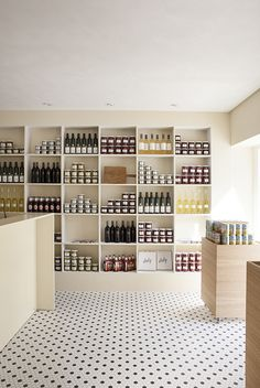 Simple built-in shelving with patterned floor makes brings personality to the Italy restaurant in Copenhagen designed by Norm Architects Italy Restaurant, Restaurant Concept, Restaurant Design, Restaurant Interiors, Cafe Interior, Shop Interior Design, Retail Design, Fashion Shop Interior, Brewery Interior