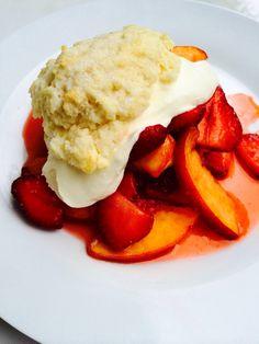 Strawberry Peach Shortcake with Cream Cheese Whipped Cream