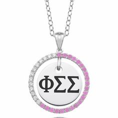 """#PhiSigmaSigma Sterling Silver CZ Circle Necklace (Chain Length is 16"""" with a 2"""" Extender) $99.00 Available at ANDREW GALLAGHER JEWELERS, NEWARK, DELAWARE (302) 368-3380"""