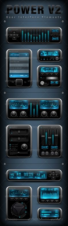 Realistic Graphic DOWNLOAD (.ai, .psd) :: http://jquery-css.de/article-itmid-1003426925i.html ... Power Style User Interface Elements V2 ...  VU, android, app, application, blue, buttons, digital, display, dj, elements, equalizer, instrument, interface, ipad, iphone, knob, music, player, plug, retina, screen, touch, user, vj, wheel  ... Realistic Photo Graphic Print Obejct Business Web Elements Illustration Design Templates ... DOWNLOAD :: http://jquery-css.de/article-itmid-1003426925i.html