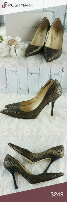 """SALE Jimmy Choo Metallic Gold Pumps Gorgeous Jimmy Choo Boutique Metallic Gold Pumps 5"""" Heels. Very Unique Fabulous Italian Leather Pump.  Stunning Design and Fantastic color to go with any outfit. Comes with box and dust bag Jimmy Choo Shoes Heels"""