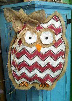 Owl Burlap Door Hangers, Felt Crafts, Owl, Christmas Ornaments, Holiday Decor, Fabric, Home Decor, Tejido, Tela