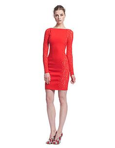 Long-Sleeve Fitted Lace Dress | Lord and Taylor