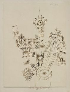 "Paul Klee 'The Last Adventure of the Knight Errant' 1922 Ink on paper mounted on cardboard 12 5/8"" x 9 3/4"""